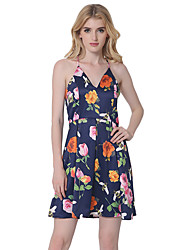 1287 Women's Going out / Casual/Daily Sexy A Line DressFloral Strap Above Knee Sleeveless Blue Cotton / Polyester