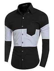 Men's Casual/Daily / Formal / Work Simple All Seasons ShirtSolid / Color Block Shirt Collar Long Sleeve White / Black /Khaki