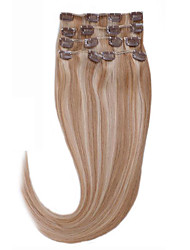Clip In Human Hair Extensions 14-26 Soft And Smooth 7pcs Silky Straight Hair Weaves 18/613 Hair