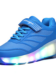Boy's Athletic Shoes Spring / Summer / Fall / Winter Comfort PU Outdoor / Athletic / Casual Wedge Heel Buckle / LED Black / Blue / Pink