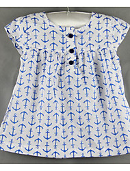 Baby Casual/Daily Print Blouse-Cotton-Spring / Fall-Blue