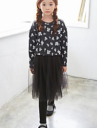 Girl's Casual/Daily Print Clothing SetCotton Winter / Fall Black