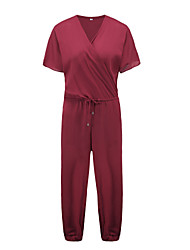 Women's Solid Blue / Red / Black Jumpsuits,Sexy V Neck Short Sleeve