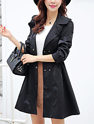 Women's Casual/Daily Simple / Street chic Double-breasted Trench CoatSolid Shirt Collar Long Sleeve