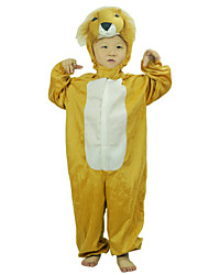 Kid Long Sleeves Stitch Color Cartoon Yellow Lion Pattern Hoodies Leotard Animal Clothing Cosplay Suits