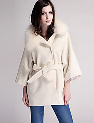 Women's Casual/Daily Simple Coat,Solid Hooded Long Sleeve Winter White / Black Cashmere / Polyester Thick