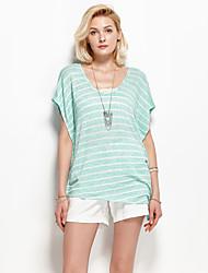 Damen Gestreift Einfach Urlaub T-shirt,Rundhalsausschnitt Sommer Kurzarm Grün Kunstseide / Polyester / Elasthan Dünn