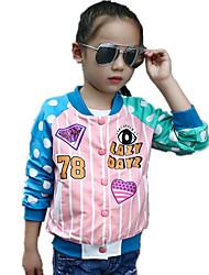 Girl's Fashion Polka Dot Stripe Patchwork Color Block Jacket