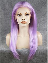 24''cosplay imstyle púrpura recta larga peluca delantera del cordón sintético de la venta de alta resistencia térmica