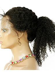360 frontal Afro Kinky Cheveux humains Fermeture Brun roux Dentelle Française 75-95 gramme Moyenne Taille du Bonnet
