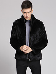 Men's Formal / Work Vintage / Street chic Coat Solid Peaked Lapel Long Sleeve Winter Faux Fur Thick
