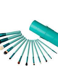 12 Makeup Brushes Set Goat Hair Professional / Portable Wood Face/Eye / Lip Green