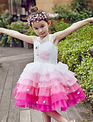 Ball Gown Knee-length Flower Girl Dress - Tulle Sleeveless V-neck with Beading / Sequins
