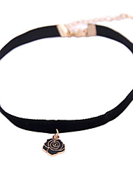 Vintage Classic Jewelry Simple Black Velet with Black Enamel Rose Flower Pendant Elegant Choker Necklace