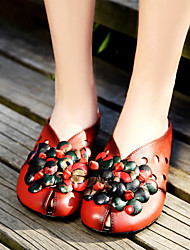 Women's Sandals Summer Comfort Cowhide Casual Flat Heel Flower Black / Red Others