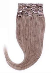 14-26 de 100% de cinzas marrom # 8 naturais cabelo humano clipe reta em humanos extensões de cabelo cabelo 8a bela para sempre