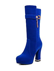 Mujer-Tacón Robusto-Confort-Botas-Oficina y Trabajo / Vestido / Casual-Ante-Azul Real