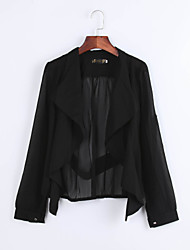 Women's Solid Black Blouse,Shirt Collar Long Sleeve