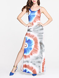 Women's Going out / Party/Cocktail Sexy Bodycon DressPrint Strap Maxi / Knee-length Sleeveless Multi-color Polyester