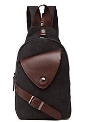 Men Sling Shoulder Bags Canvas All Seasons Casual Zipper Black Dark Blue Olive Light Brown Khaki