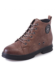 Women's Boots Fall / Winter Comfort PU Dress / Casual Low Heel Lace-up Black / Khaki Walking