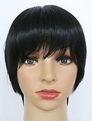 venta pelucas sintéticas peluca de pelo de color negro recta cortos para las mujeres afro