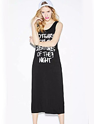 Women's Going out Street chic Tunic Dress,Patchwork Round Neck Midi Sleeveless Black Polyester All Seasons Mid Rise Micro-elastic Medium