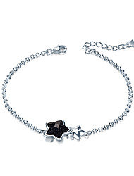 SILVERAGE 925 Sterling Silver Black Gemstone Aventurine Star Bracelet Fine Jewelry for Women