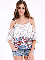 Damen Druck Einfach Ausgehen / Lässig/Alltäglich T-shirt,Gurt Sommer Kurzarm Weiß Baumwolle / Polyester Mittel