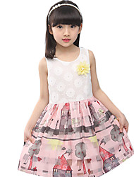 Girl's Casual/Daily Print Dress,Cotton / Polyester Summer Green / Pink