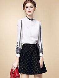 Mujer Simple Casual/Diario Otoño Camisa,Escote Chino Un Color Manga Larga Algodón Blanco Fino