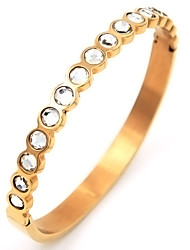 Half Rhinestone Inlay Titanium Steel Gold Plated Bangle