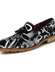 Men's Loafers & Slip-Ons Spring / Fall Comfort PU Casual Flat Heel Slip-on Black Sneaker