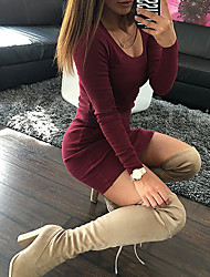 Women's Going out / Casual/Daily / Formal Sexy / Cute A Line Dress,Solid Round Neck Above Knee Long Sleeve Red / Black / Green Polyester