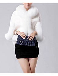 Women's Plus Size Simple Fur Coat,Solid Hooded Long Sleeve Spring / Winter White / Black Faux Fur Thick