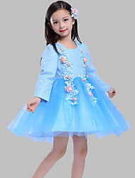 A-line Short / Mini Flower Girl Dress - Cotton Lace Tulle Jewel with Appliques Flower(s)