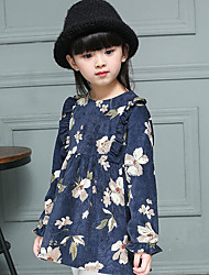 Girl's Casual/Daily Floral DressCotton Spring / Fall Blue