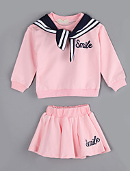 Girl Casual/Daily Color Block Sets,Cotton Fall Long Sleeve Clothing Set
