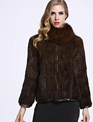 Manteau en Fourrure Femme,Couleur Pleine Décontracté / Quotidien Sophistiqué Manches Longues Col Roulé Marron Autres Hiver