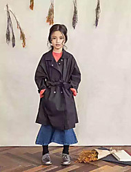 Girls' Casual/Daily Solid Trench Coat,Cotton Fall Long Sleeve