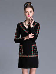 Winter Women Plus Size Luxury Ethnic Vintage Bead Embroidered Lace Sequins Patchwork Party Daily Dresses