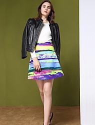 Mujer Tallas pequeñas Faldas,Línea A Arco iris Retazos,Cosecha Tiro Alto Noche Sobre la Rodilla Cremallera Poliéster Micro-elástica Otoño