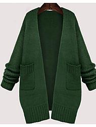 Женский На каждый день / Большие размеры Простое Обычный Кардиган Однотонный,Зеленый Круглый вырез Длинный рукав Хлопок Зима Средняя