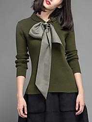 Mujer Regular Cardigan Casual/Diario Simple,Un Color Verde Escote Chino Manga Larga Algodón / Acrílico Otoño / Invierno Medio