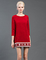 Women's Going out Vintage Loose Dress,Patchwork Round Neck Above Knee Long Sleeve Red / Black Wool / Polyester / Nylon Fall / WinterMid