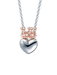 SILVERAGE 925 Sterling Silver Rose Gold Cubic Zirconia Crown Heart Necklaces & Pendants Fine Jewelry Women