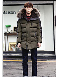 Men's Casual/Daily Simple Coat,Solid Hooded Long Sleeve Winter Green Polyester
