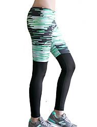 Pantalon de yoga Collants Bas Séchage rapide Isolé Compression Confortable Taille basse Haute élasticité Vêtements de sport Vert Femme