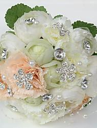 """Fleurs de mariage Rond Roses Pivoines Bouquets Mariage La Fête / soirée Satin Strass 7.87""""(Env.20cm)"""