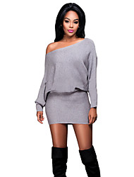 Women's Casual/Daily /Club Bodycon Sexy Simple Backless Slim Bodycon Dress Above Knee Long Sleeve
